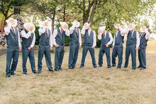 Just add a cowboy hat and you've got some handsome country groomsmen!