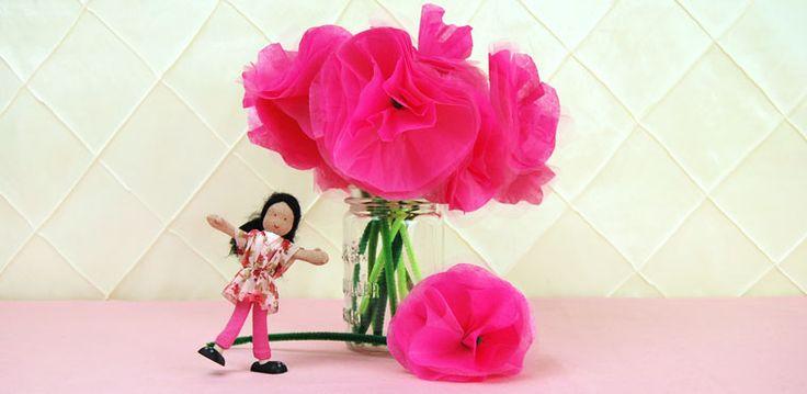 Tissue Tulle Flower Craft
