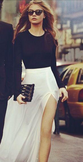 Long Slv Black Top + White Slit Maxi Skirt + Clutch