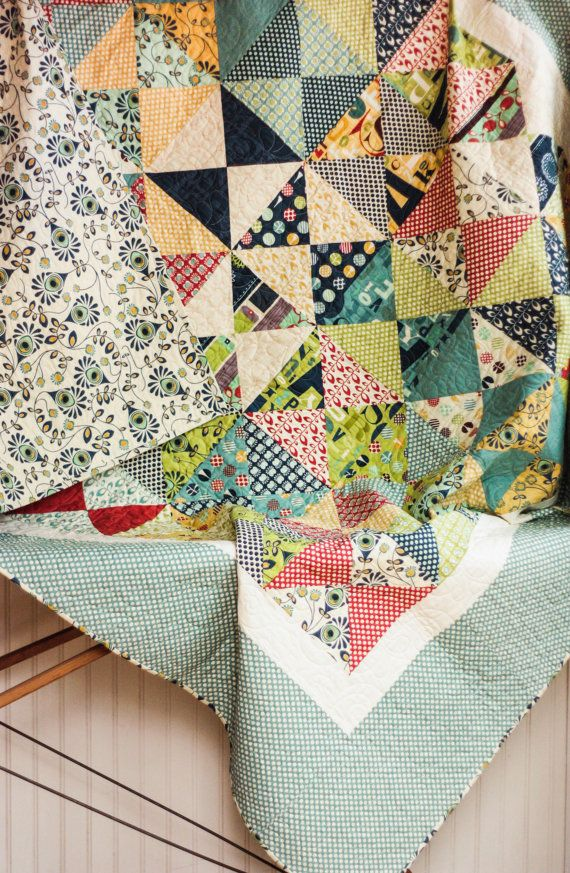 Reserved for Nicole - Twin Size Hour Glass Quilt - Extra Wide Twin Size - READY TO SHIP Quilt ...