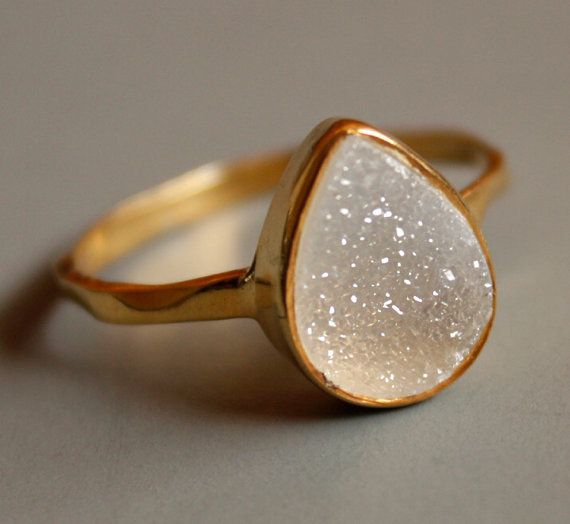 Druzy Ring  White Agate Druzy  Teardrop Shape  Stacking by OhKuol, $63.00