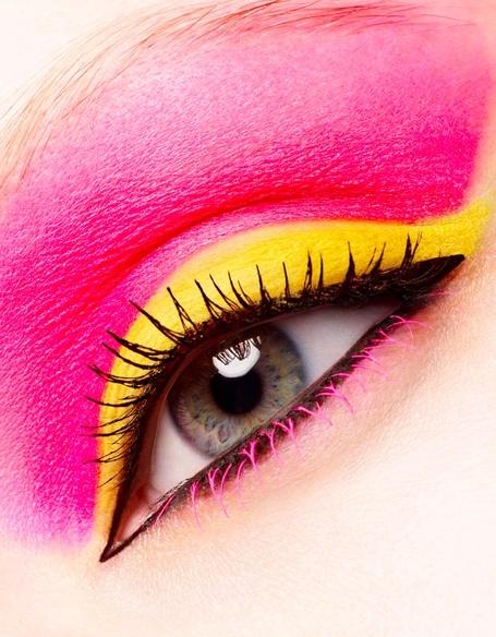 Vivid pink, yellow and black.