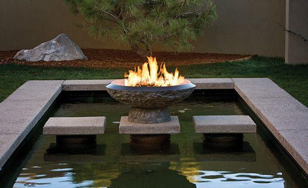 backyard water & fire feature