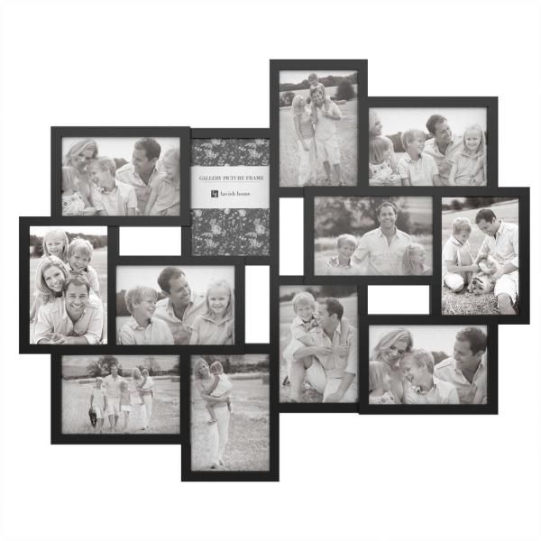 Lavish Home 12 Opening 4 In X 6 In Black Picture Frame Collage Hw0200067 The Home Depot Frame Wall Collage Picture Collage Collage Picture Frames