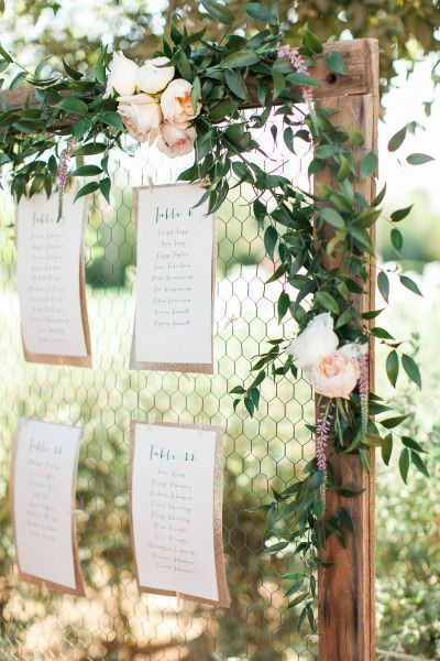Si le lieu où vous célébrez votre mariage dispose d'une cour et d'un grillage, accrochez-y votre plan de table. Voir l'image sur...