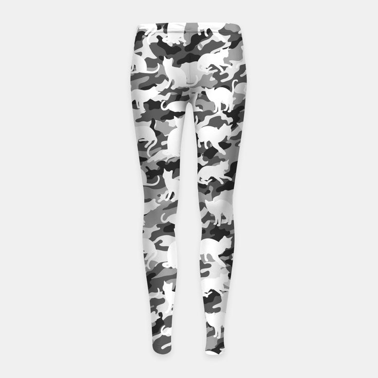 Black and White Catmouflage Camouflage Girl's Leggings, Live Heroes