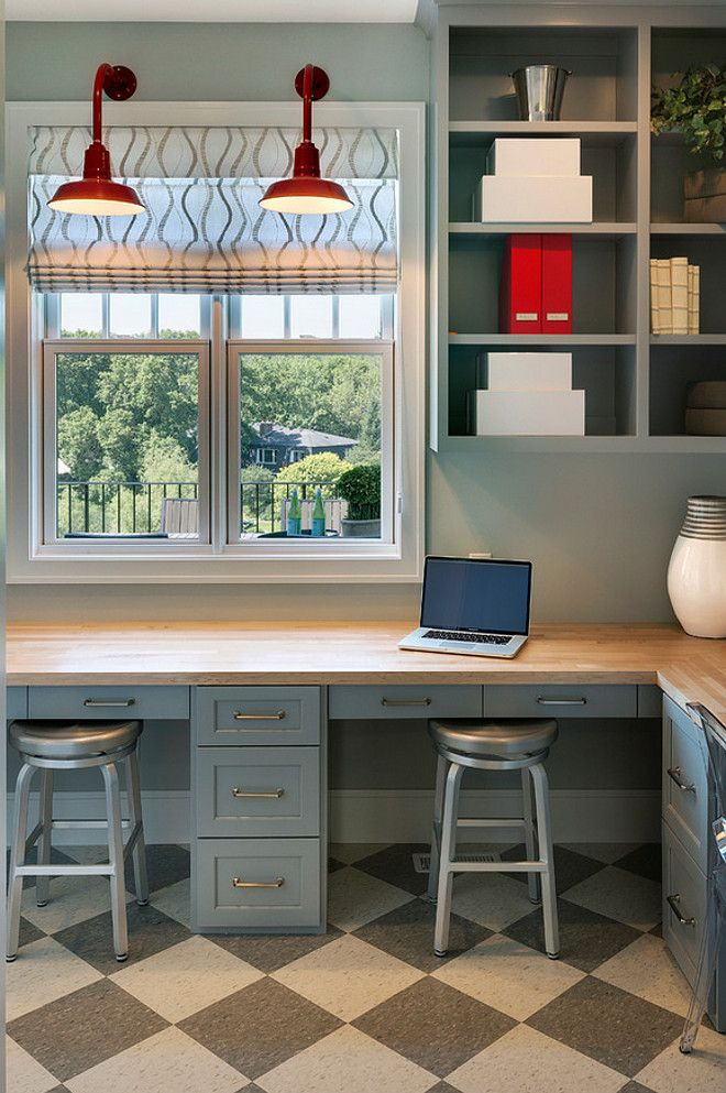 Kitchen Built-in Desk. Built-in desk placed in the pantry. Kitchen pantry with built in desk. Built in desk pantry kitchen. Great home office with red gooseneck barn lights, gray cabinets and white and gray harlequin tiled floor. #BuiltinDesk #kitchen #pantry Spacecrafting Photography.