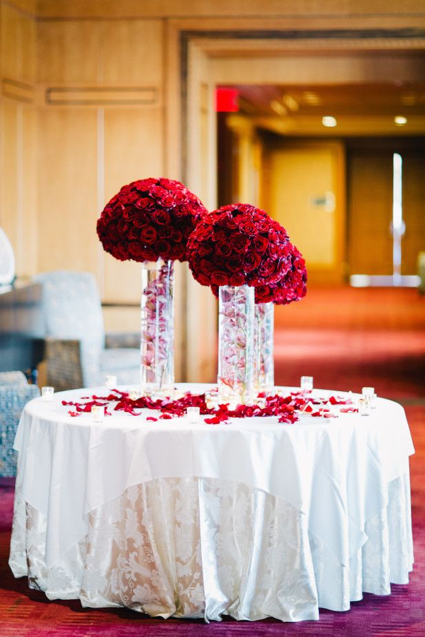 wedding reception places in twin cities%0A Wedding reception table with red flowers and submerged pink orchid stems in u