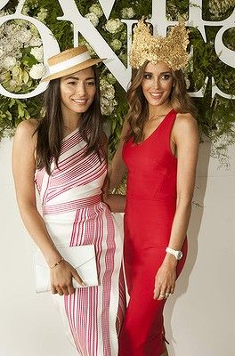 #JessicaGomes and #RebeccaJudd attends the Caulfield Cup Carnival day at Caulfield Racecourse on October 18, 2014 in Melbourne, Australia.