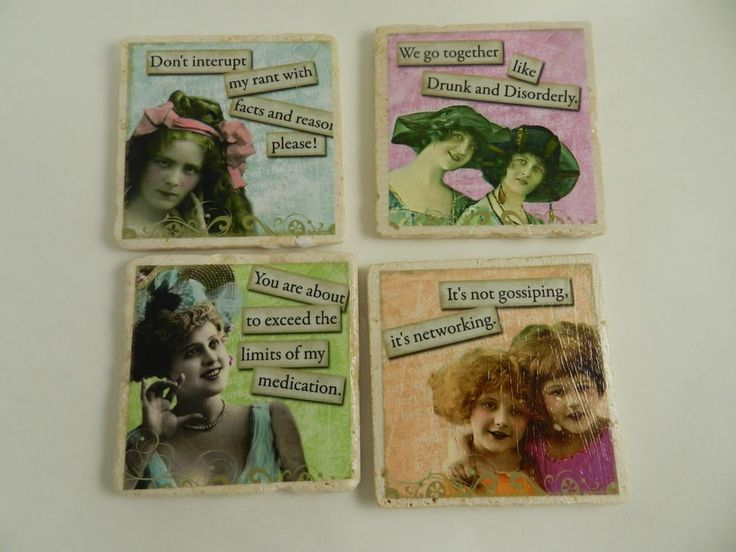 Stone Drink Coasters Funny Vintage Retro Women Quotes Set Four New #handmade