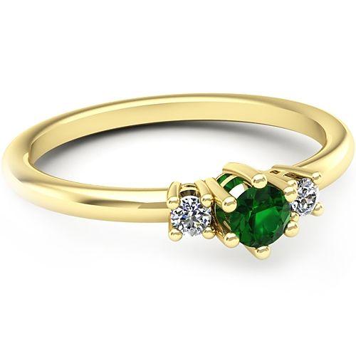 Inel logodna L12GSM cu diamant si smarald