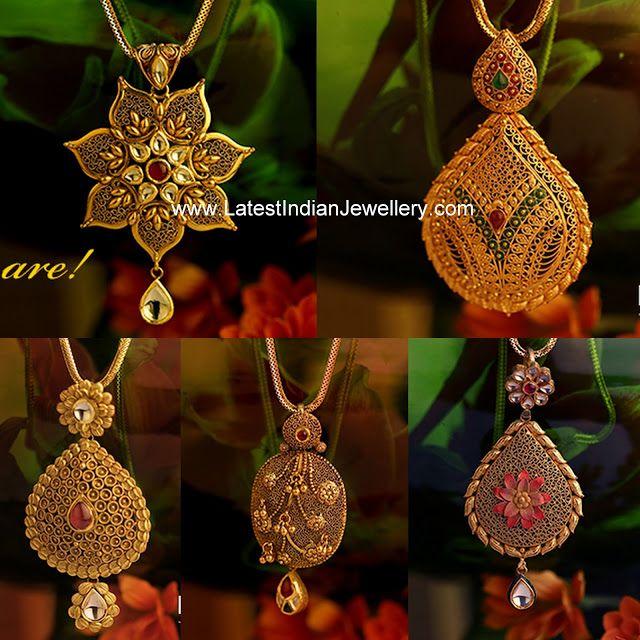 Latest Gold Pendants from Kalyan