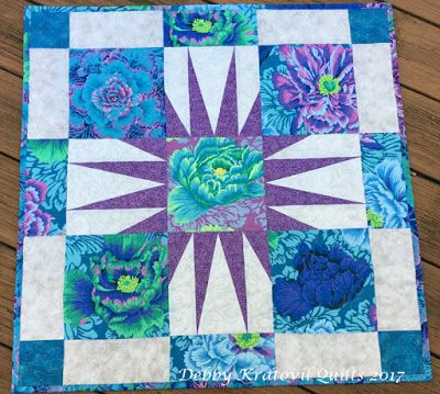 """Updated Metropolitan Home Star, single 21"""" block (with 3"""" border). A great way to show off beautiful large scale prints! http://debbykratovilquilts.blogspot.com/2017/06/metropolitan-home-star-updated.html"""