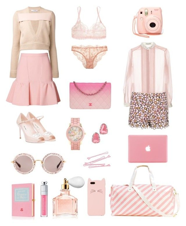 Think pink by larobedemariee-paris on Polyvore featuring mode, Aquilano.Rimondi, Givenchy, Moschino Cheap & Chic, Hanky Panky, La Perla, Miu Miu, Chanel, Olympia Le-Tan and Aéropostale