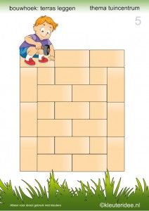 15 voorbeeldkaarten om een terras te leggen in de bouwhoek, kleuteridee , thema tuincentrum, make a terrace in the block area 5.