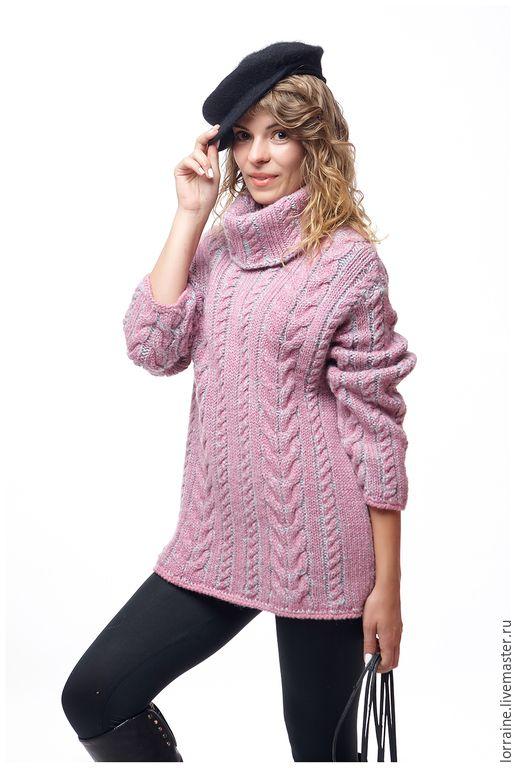 """Купить Свитер женский """"French Tress"""" - брусничный, ежевично-мятный, свитер женский вязаный"""