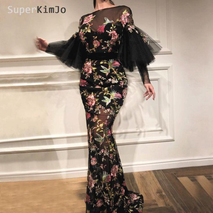 embroidery applique evening dresses long 2020 black mermaid