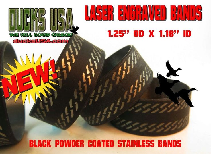 """Duck Call Stainless FLAT BLACK ENGRAVED 3-PACK 1.25"""" OD x 1.17"""" ID x .5"""" Wide #DUCKSUSA"""