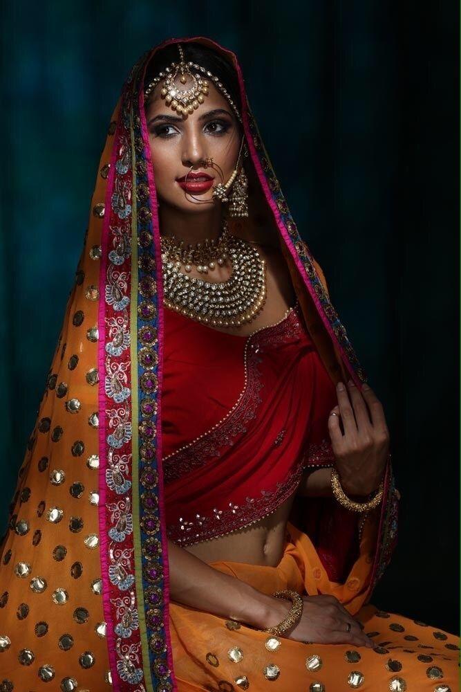 Orange & Gold Polka Dot #Saree With Red #Blouse.
