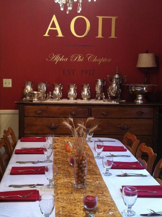 Dining room at the AOII house! How awesome!