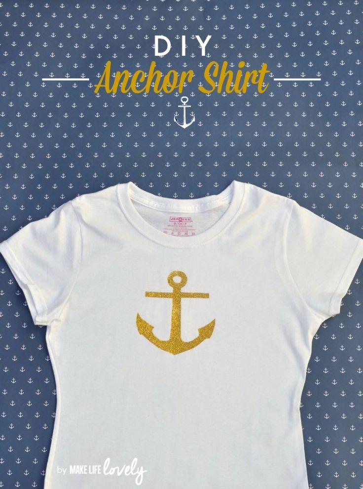 DIY Anchor Shirt by @Laura Jayson | MakeLifeLovely.com | Glitter Anchor Shirt