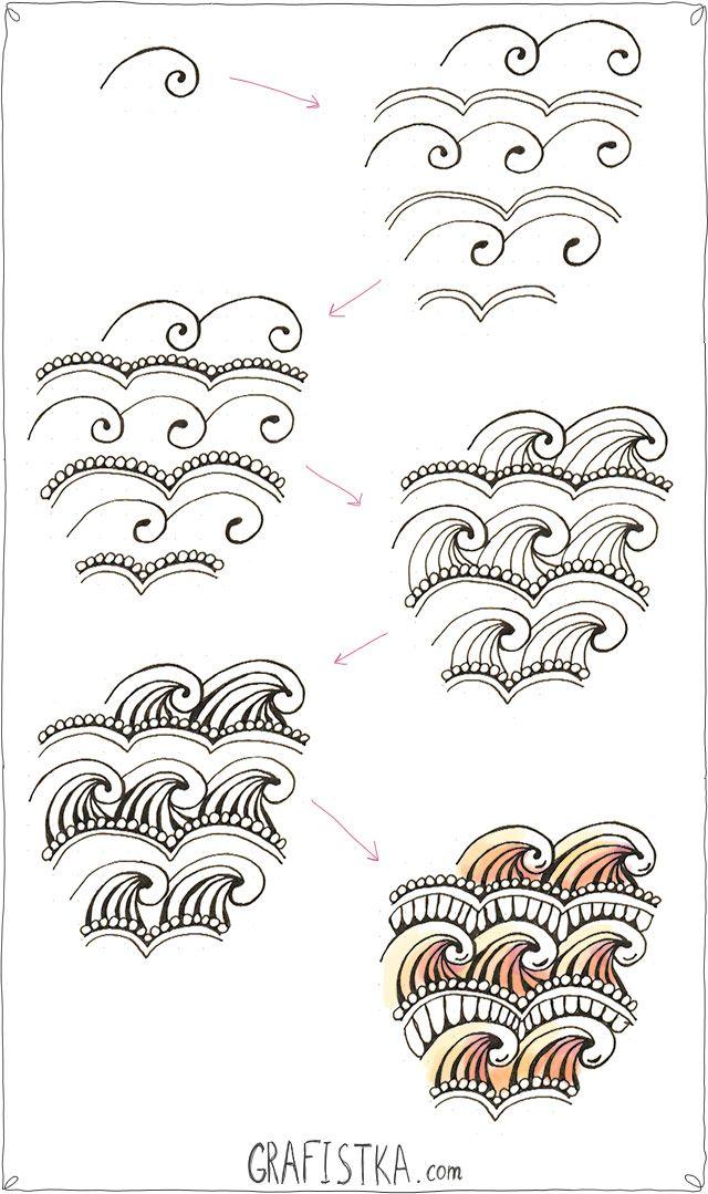 Дудлинг узор по шагам, 27- love this one...adding it today to my tangle pattern sampler book!!!