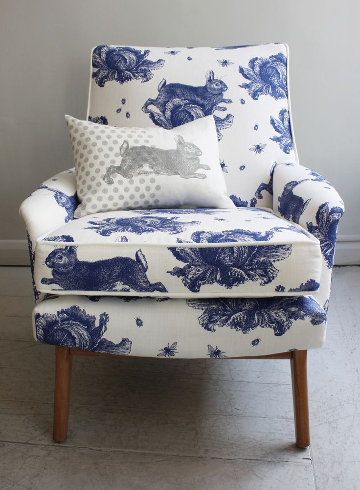 Blue And White Upholstery.