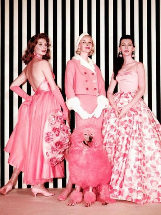 "Edith Head, gowns worn by models Suzy Parker, Sunny Harnett and Dovima for the fashion sequence ""Think Pink"" in movie ""Funny Face"""