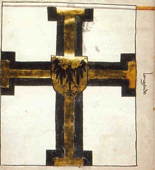 "f°2v, Banner of the Master of Teutonic Order (smaller) -- ""Banderia Prutenorum"", by Jan Dlugosz, 1410"