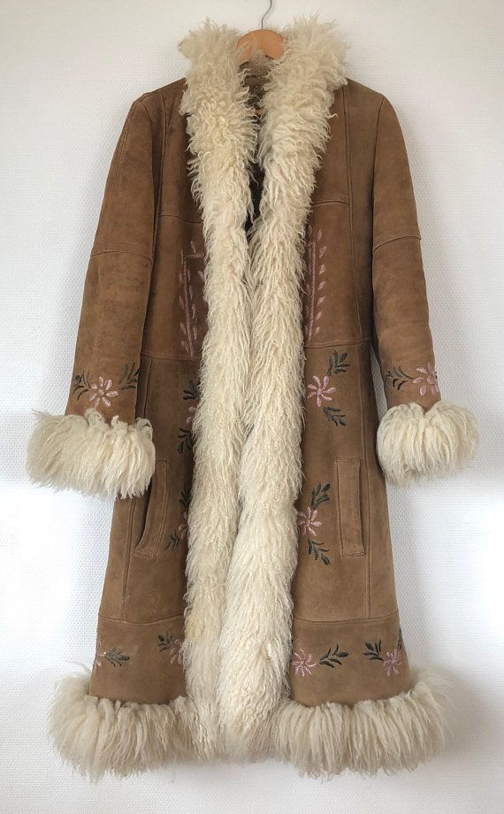 e0acb305 Vintage 1970s Handmade Afghan Embroidered Sheepskin Suede Coat | My ...