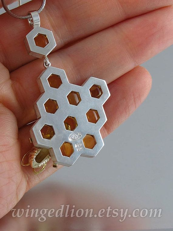 The pendant is NOT in stock - it will be made to order. SWEETER THAN HONEY pendant was designed by me (Natalia Moroz) and crafted by the artist and jewelry designer Sergey Zhiboedov (my husband). The art of beekeeping goes back to the ancient times. Over the centuries, bees and honey have