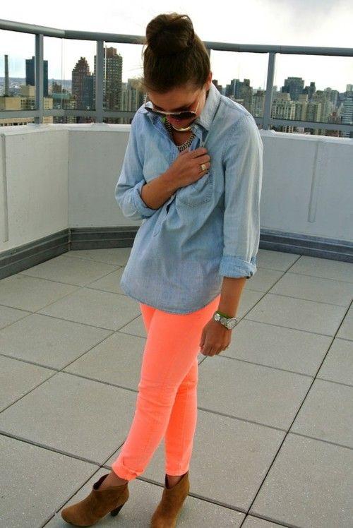 love jean shirts and neon pants: Colors Pants, Neon Pants, Jeans Shirts, Colors Jeans, Neon Jeans, Chambray Shirts, Denim Shirts, Colors Denim, Bright Pants
