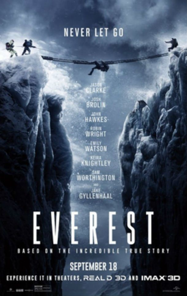 Everest - Everest is a 2015 mountain adventure film based on the real events of the 1996 Mount Everest Disaster, where eight people died in a severe blizzard. The movie shows the survival attempts of two groups of climbers in what is still considered one of the deadliest disasters in the mountaineering history.
