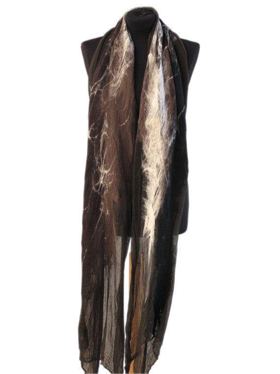 Wild felted scarf  Brown black and white by SlowlabFirenzeFelt