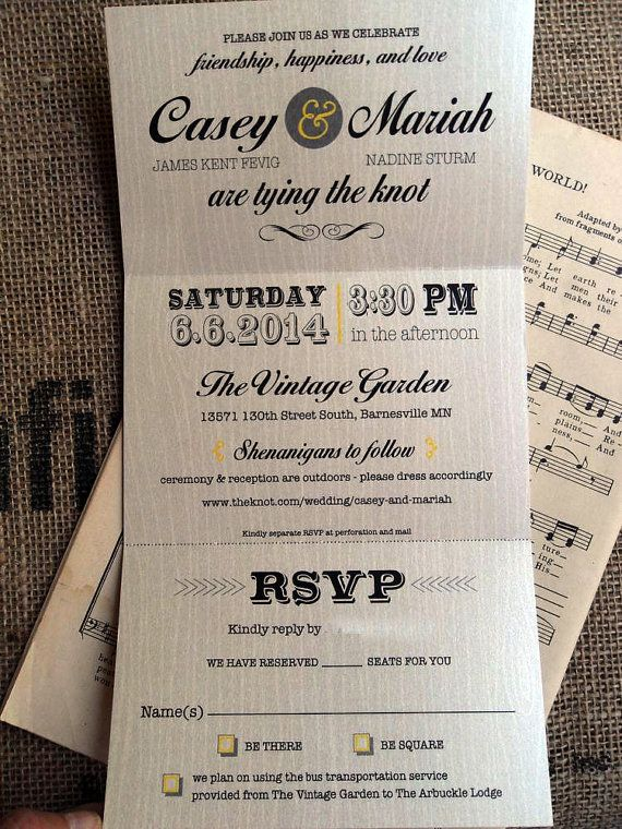 Rustic Trifold Yellow Gray Navy Wedding Invitations Invites Announcements  RSVP By SAEdesignstudio, $2.05