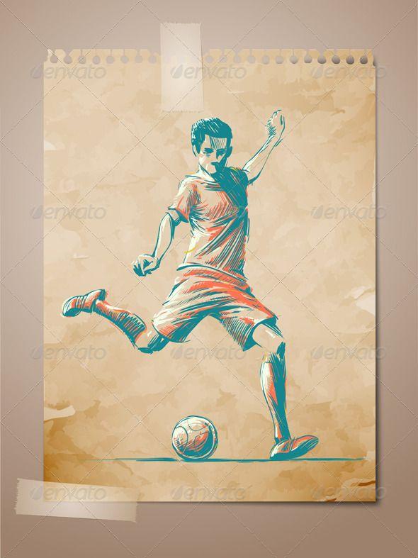 Football, Soccer Player Sketch - Sports/Activity Conceptual