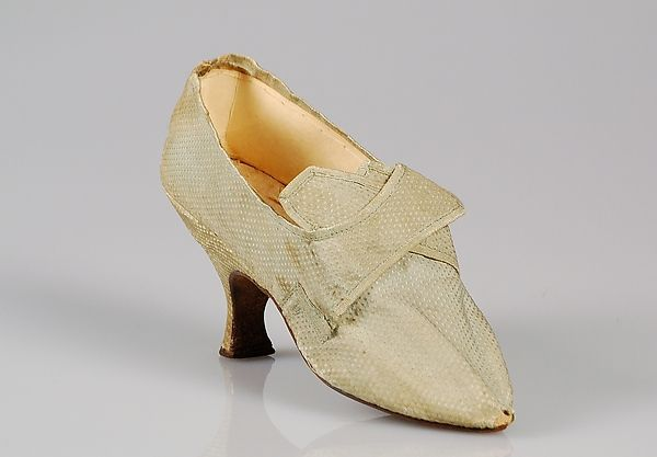 Shoes (at the Metropolitan Museum of Art) 1780–95, American Medium: Silk Gift of the Brooklyn Museum, 2009; Gift of Elsie O. Hincken, 1942 Accession Number: 2009.300.4373