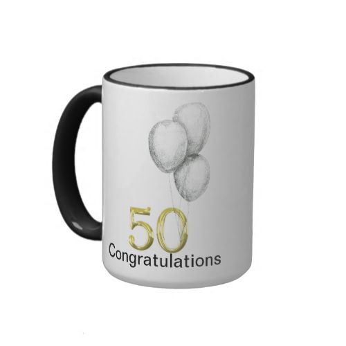 """A perfect gift for a 50th Birthday the number 50 in gold on one side with balloons and Congratulations and on the other side """" Happy Birthday Big Boy"""" but feel free to change the words to suit the recipient. #mug #mugs #cup #cups #coffee #tea #drinking #tea #set #coffee #set #wedding #birthday #gift #gifts #collections #kitchenware #kitchen #dining #presents #gift #ideas #new #home #wedding #gift #ideas #new #home #gift #ideas #home #decor #50th #age #50 #fifty #numbers #congratulations ..."""