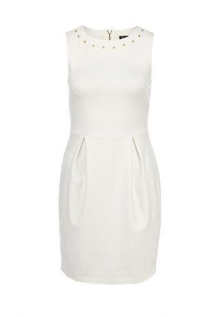 Элегантное платье-миди Kira Plastinina выполнено из плотного трикотажа молочного цвета. Модель декорирована золотистыми шипами, эффектно подчеркивающими круглый ворот. Детали: крупные складки на талии, приталенный лаконичный крой, застежка на крупную металлическую молнию на спинке. http://j.mp/1pPkXJ8