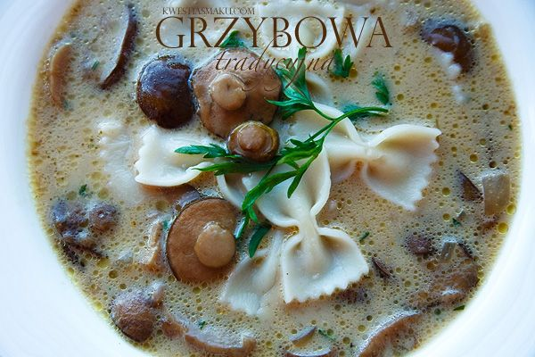 """Traditional Polish mushroom soup. When I went to Poland I noticed all these cars by the side of the roads, even highways. I asked my now-husband where the people were. """"Picking mushrooms."""" It's a national pastime, really."""
