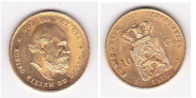 Netherlands – 10 gulden 1876 Willem III – Gold