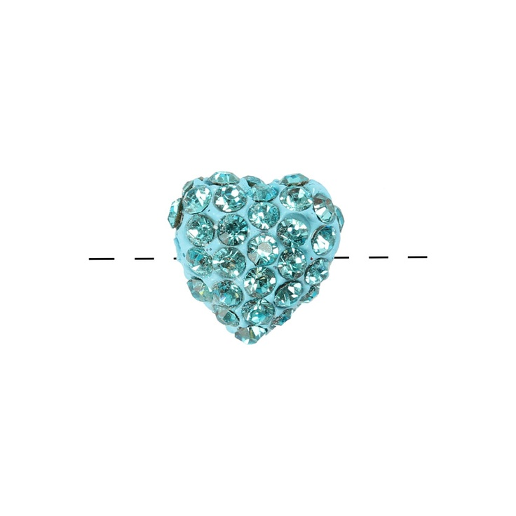 £2.35 Turquoise Crystal 14mm Shamballa Style Heart Bead (Side Drilled). You could use this heart bead within the traditional macramé style bracelet. The bead is made from a light blue clay (so will not tarnish like metal styles) and encrusted with turquoise coloured Czech crystals.
