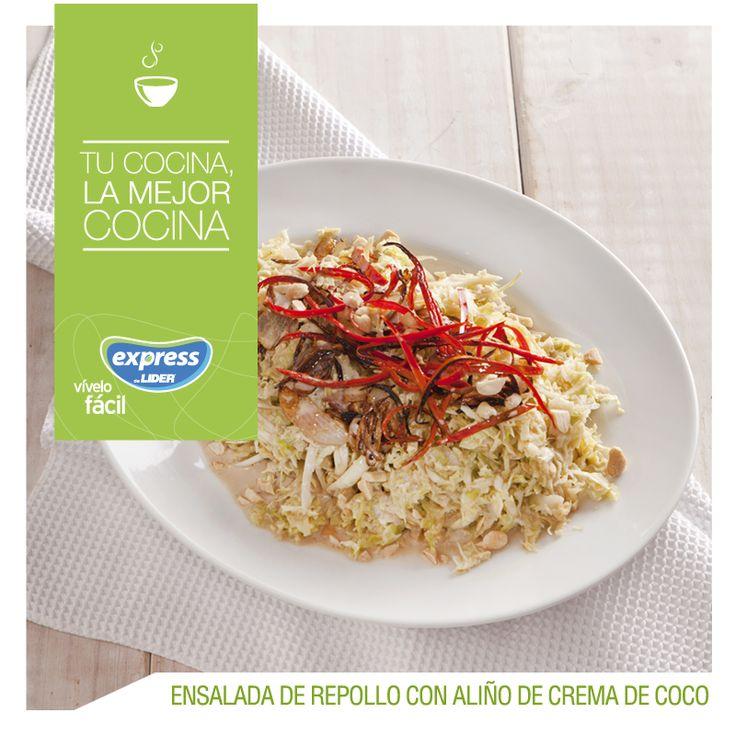 Ensalada de repollo con aliño de crema de coco. #Recetario #Receta #RecetarioExpress #Lider #Food #Foodporn #Salad #Oriente