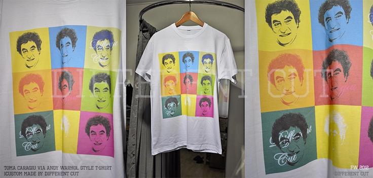 ✂ Different Cut T-shirt // Toma Caragiu (a great romanian satire artist) via Andy Warhol