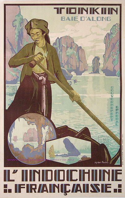 Jos henry Ponchin  1931 Indochine francaise Tonkin Baie d Along 75.5x110 imp Extreme Orient Hanoï by estampemoderne.fr, via Flickr