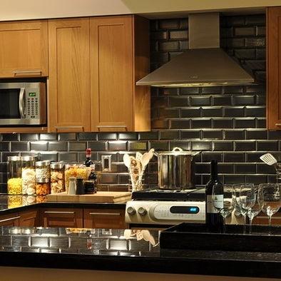 Black Subway Tile Kitchen Backsplash. Cool Modern Sleek Look!