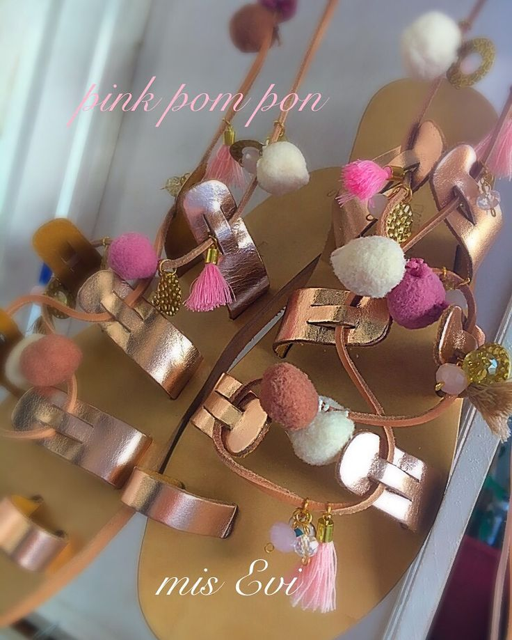 Pink pom pon!!!!! Handmade leather sandals