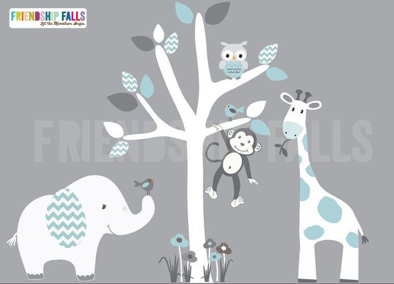 Mini Jungle Decals, Small elephant Wall Decal, giraffe decal, Nursery Decal, Monkey, Friendship Falls decal, Aqua Chevron Scene - White Tree...