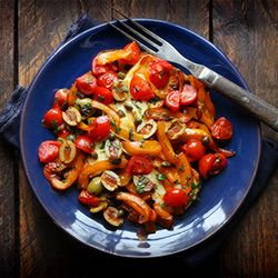 Halloumi with seared peppers, olives and capers - from Deborah Madison's new book, Vegetable Literacy. Quick to prepare & absolutely delish!