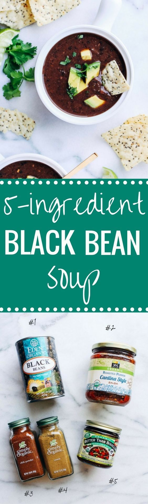 5-Ingredient Black Bean Soup- you won't believe how easy this soup is to make! Just 15 minutes is all you need for a quick and healthy meal that's packed full of protein and antioxidants! (vegan + gluten-free)